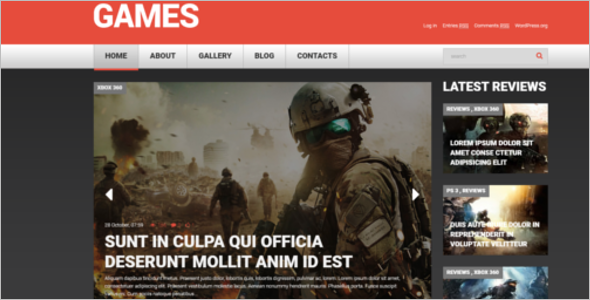 Editable Gaming WordPress Theme