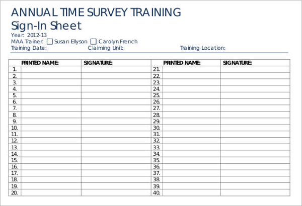 Editable Sign In Sheet Template