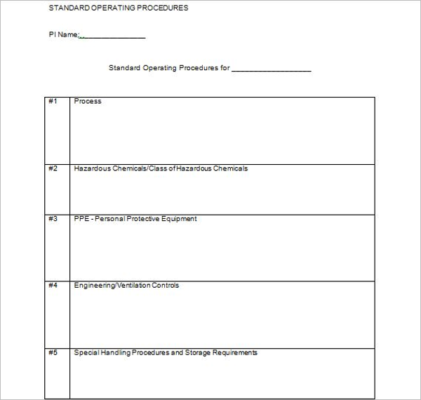 45+ Free Standard Operating Procedure Templates Word, Excel Format
