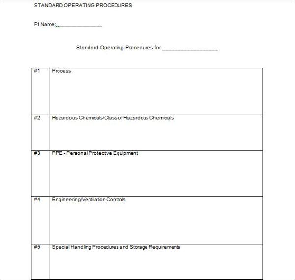 Editable Standard Operating Procedure Template