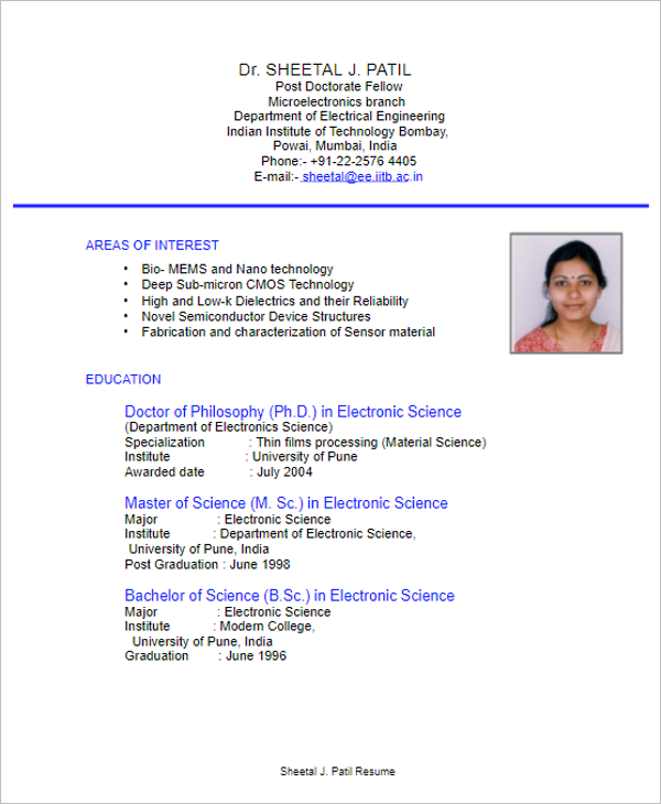 Electrical Engineering Resume Format Download