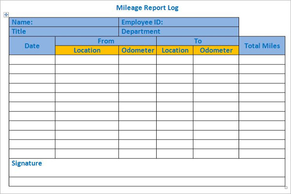 EmployeeMileage Log Template