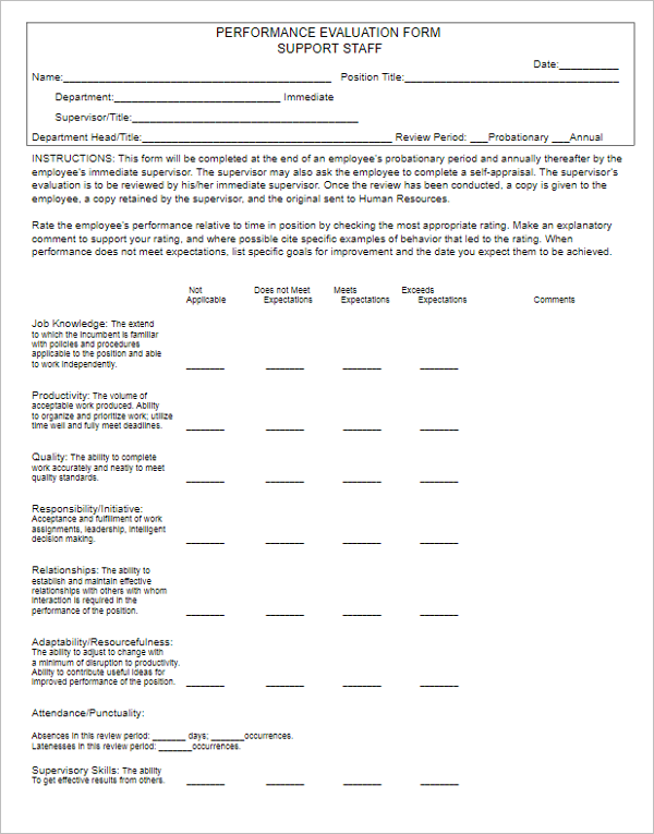 employee performance evaluation form pdf