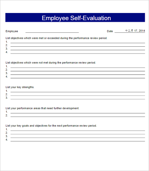 Employee Self Evaluation Form