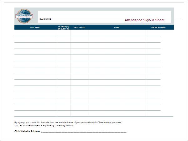 EmployeeSign In Sheet Template