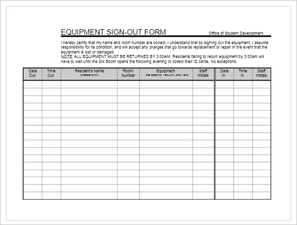 Equipment  Sign in Sheet Format