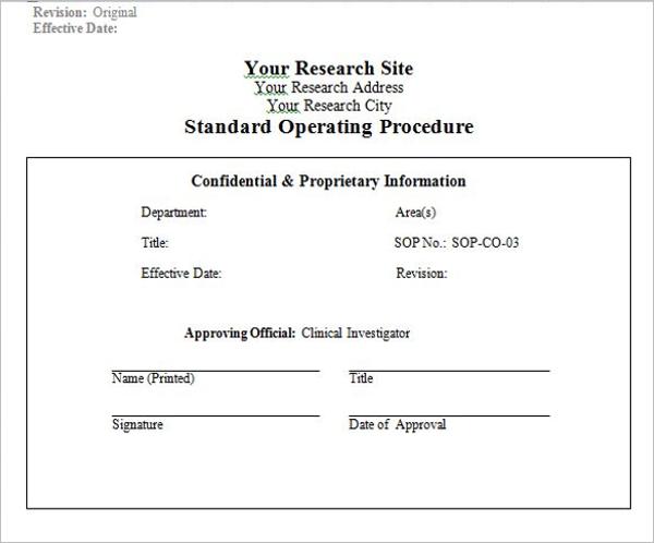 Establishment Standard Operating Procedure