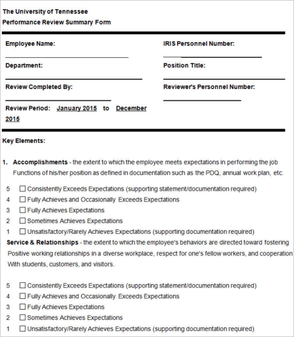 Example Employee Performance Evaluation Form