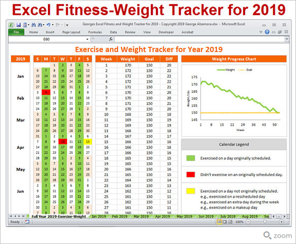 Excel Weight Loss Chart Template