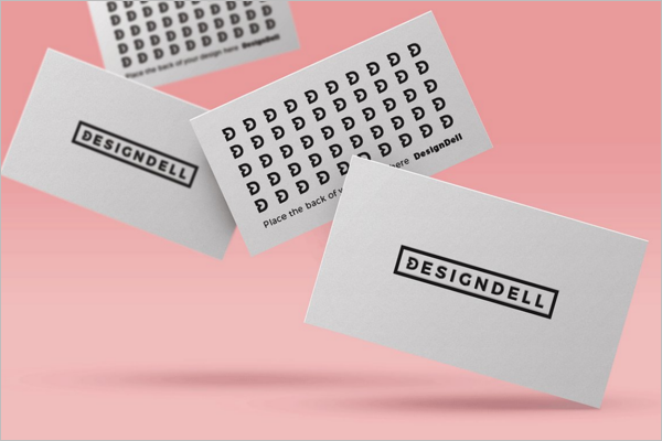 Falling Business Card Mockup Template