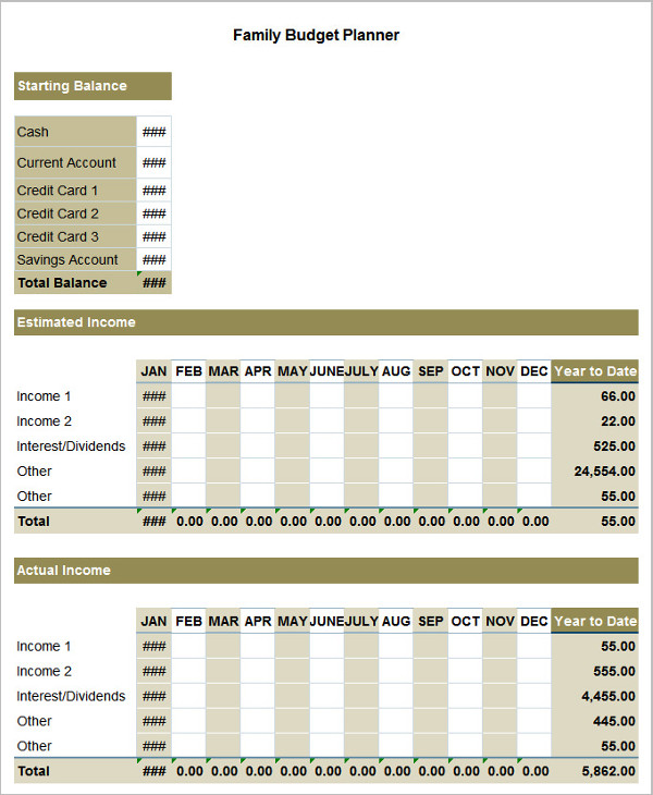 Family Budget Excel Sheet