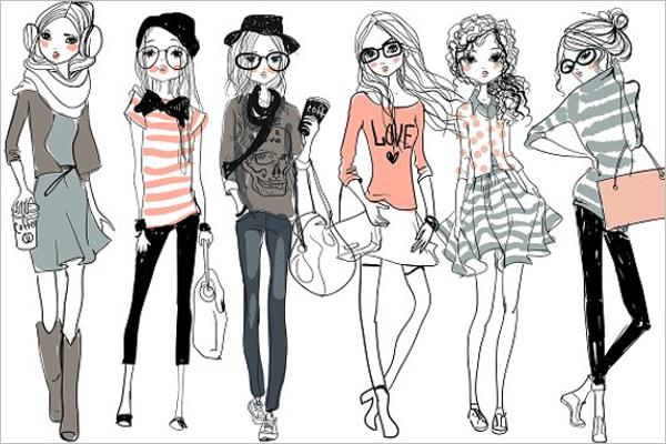 Fashion Sketched Cartoon Girl Character