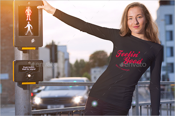 Female T-shirt Mockup Template