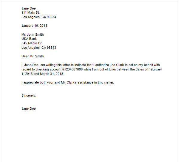 Financial Letter of Authorization