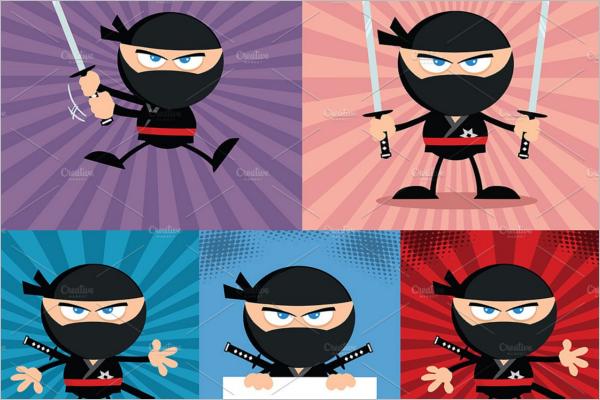 Flat Warrior Cartoon Character