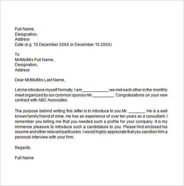 Formal Introduction Letter Template