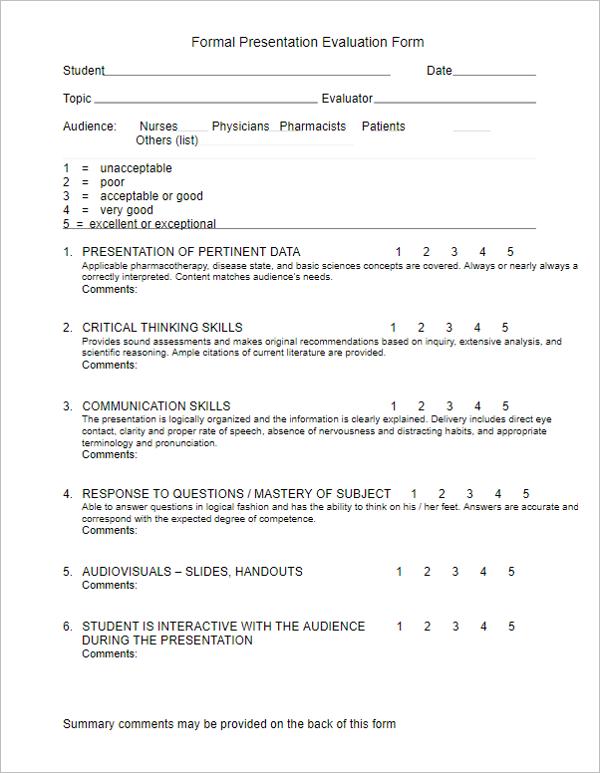 Formal Presentation Evaluation Form
