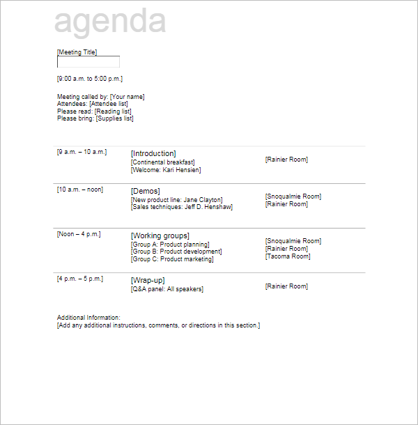 Free Agenda Meeting Template