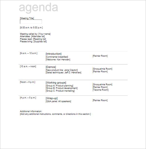 Free Agenda Meeting Template