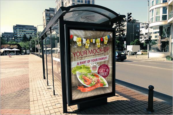 Free Bus Stop Advertising Mockup Template