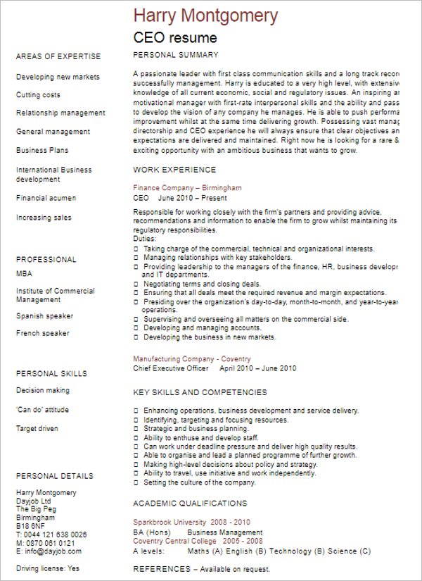 Free CEO Resume Template