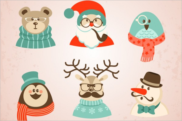 Free Christmas Hipster Character Design