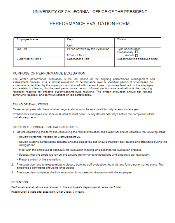 Free Download Performance Evaluation Form