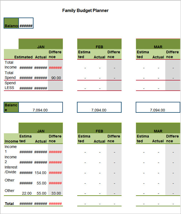 FreeFamily Budget Template