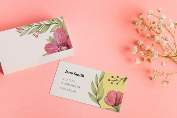 Free Floral Business Card Mockup Design