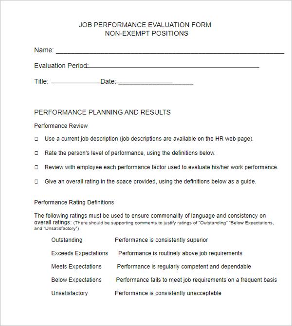 Free Job Performance Evaluation Form