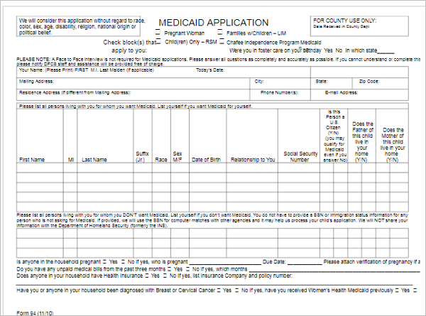 Free Medical Application Format