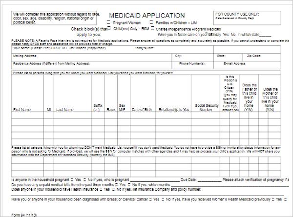 Free Medical Application Format