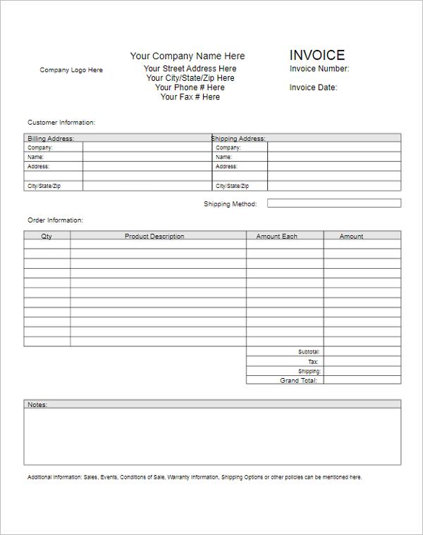 Free Printable Blank Invoice Template