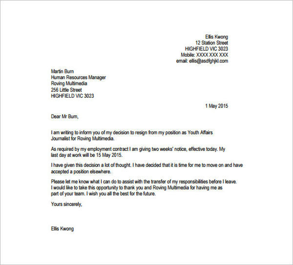 17 Resignation Letter Templates Free Word PDF Excel Samples – Free Resignation Letter