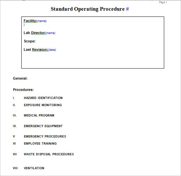 Free Standard Operating Procedure Template