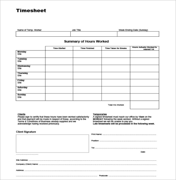 Free Timesheets Template