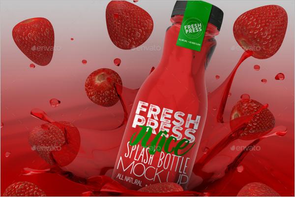 Fruit Juice Bottle Mockup Design