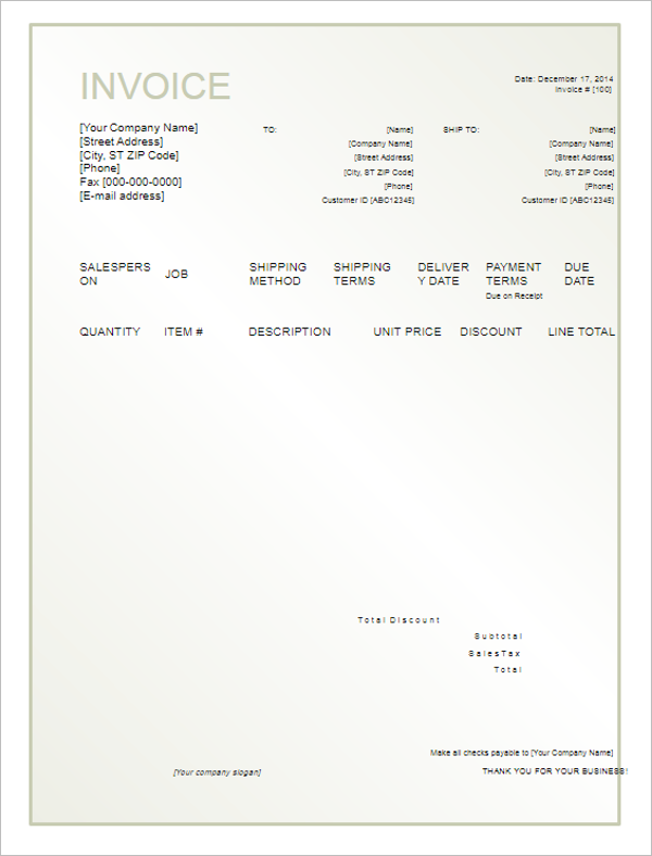 40  blank invoice templates free word  excel  psd format