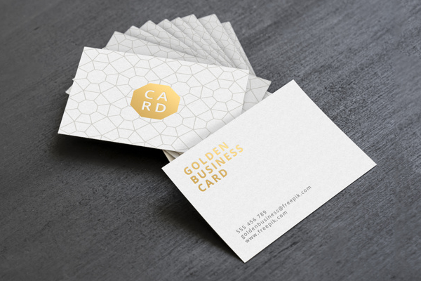 Golden Business Card Mockup Design