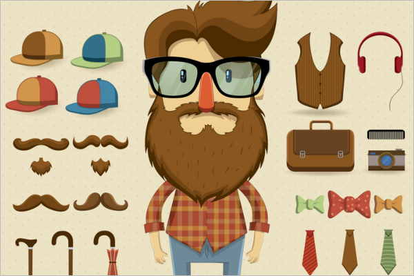 Graphical Hipster Character Design