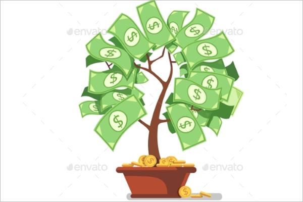Growing Money Tree Vector Design