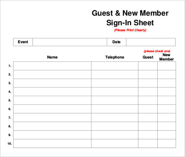 Guest Sign In Sheet Template Download