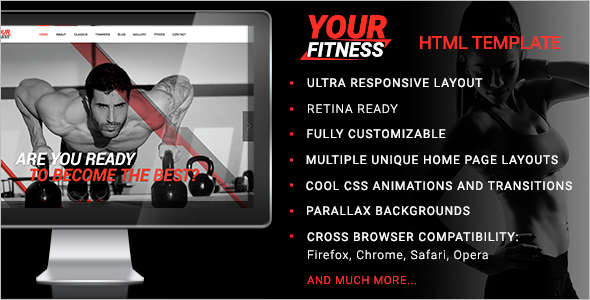 HTML Fitness Center TemplateHTML Fitness Center Template