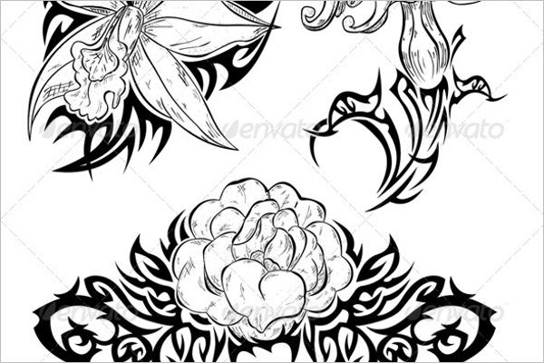 Hand Drawn Flower Tattoo Design