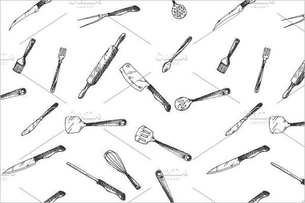 Hand Drawn Kitchen Utensils Pattern