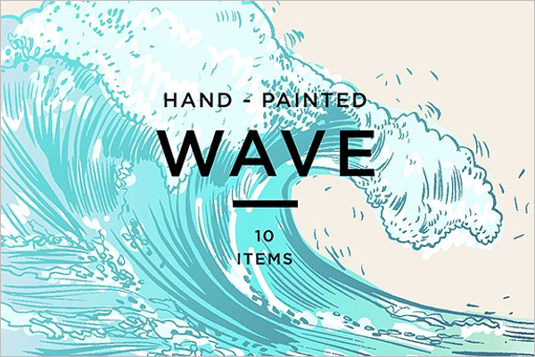 Hand Drawn Ocean Wave Background