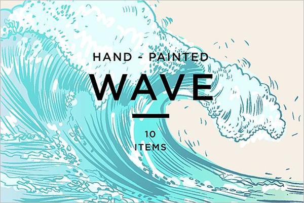 Hand Drawn Ocean Wave Background