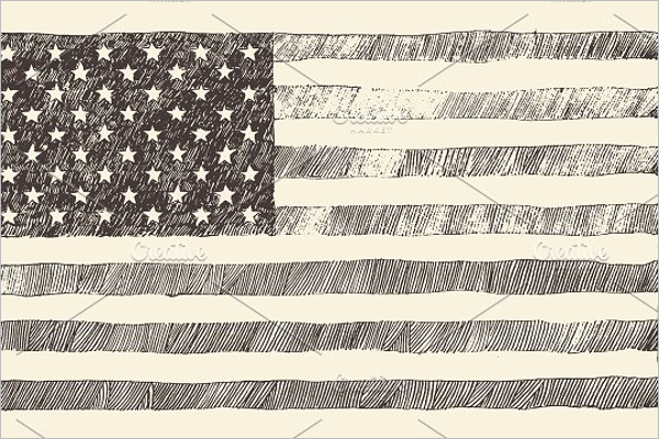 Hand Drawn US Flag Design