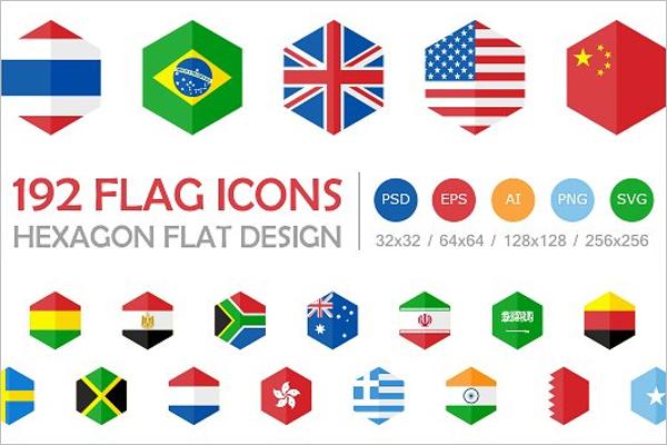 Hexagon Flags Vector Design