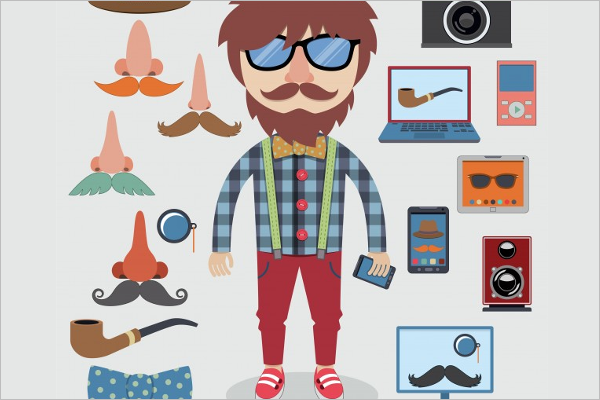 Character Design Software Free Download : Hipster character designs free premium templates